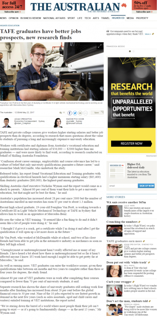 Tafe Graduates article
